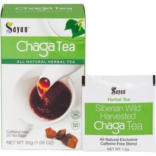 20 Bags Sayan Organic Wild Siberian Chaga Mushroom Tea - Raw and Extract Blend