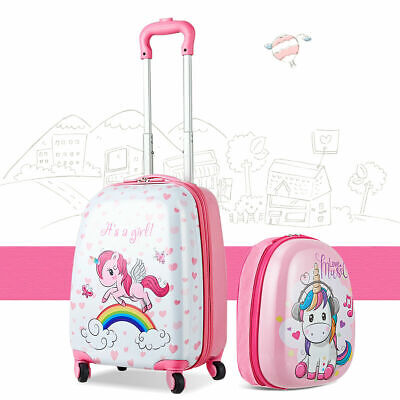 2PC Kids Luggage Set 12'' Backpack & 16'' Rolling Suitcase for School Travel ABS - Kids Rolling Luggage