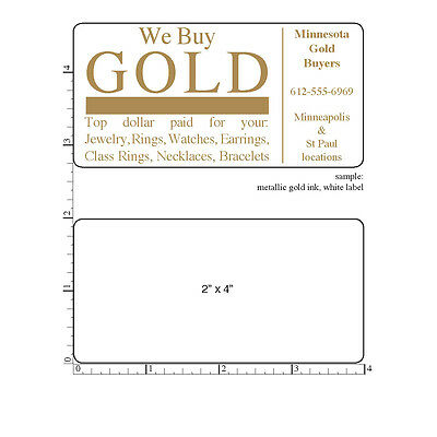 Custom Labels Printed 2 X 4 Rectangle Business Stickers 1000 1-color Seals