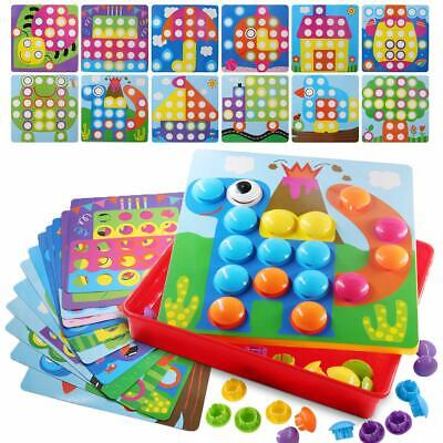 Button Art Color Matching Mosaic Pegboard Kids Early Learning Educational Toys