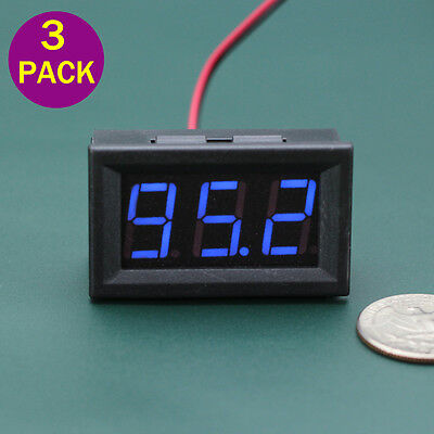 3pcs Dc 5-120v Mini Voltmeter Blue Led Panel 2-wire Volt Meter 3-digital Display