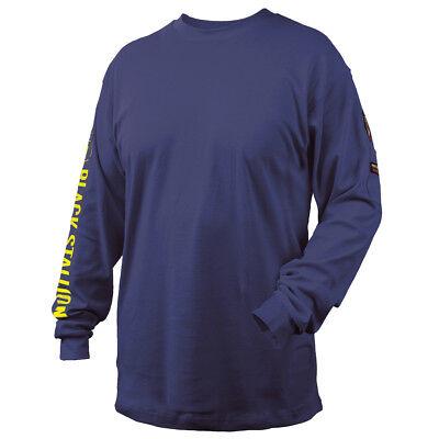 Revco Black Stallion Navy 7 Oz. Fr Cotton Knit Long-sleeve T-shirt Size Medium