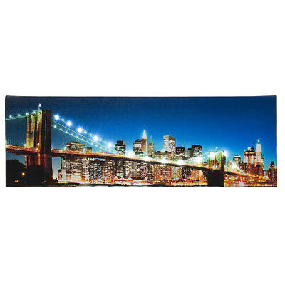 (LED Lighted Brooklyn Bridge New York City Skyline Light Up Canvas Wall Art 18x6