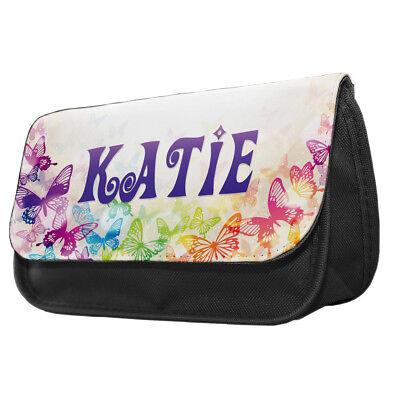 Personalised Butterflies Pencil Case / Make up bag kids girl gift idea - Butterfly Makeup Kids