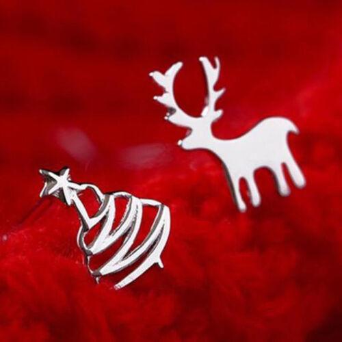 Jewellery - 925 Silver Christmas Elk 3 Star Earrings Women Ear Stud Xmas Jewelry Gifts UK