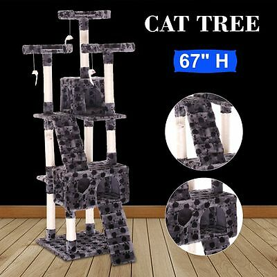 """67"""" Cat Tree Pet Scratching Post Tower Condo Furniture Kitty Gray W/ Paws"""