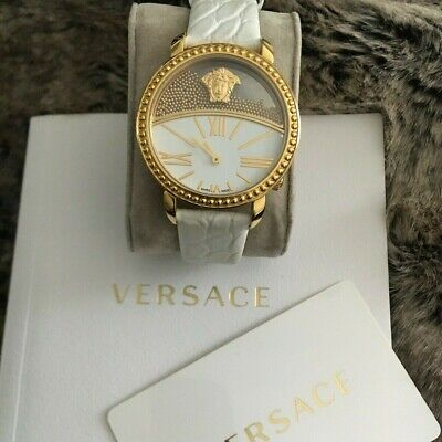 100% AUTHENTIC VersaceWomen Krios Bead Window Leather Strap Watch orig. $1,595