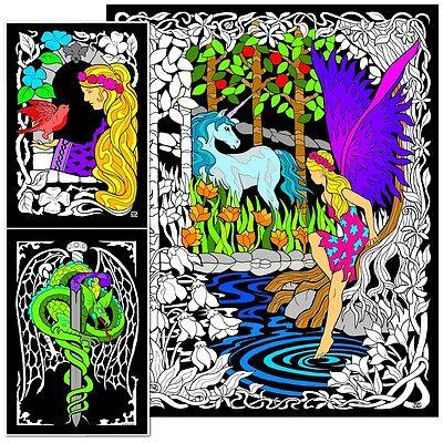 Fairy Unicorn - Large 23x20 Inch Fuzzy Velvet Coloring - Velvet Coloring Posters