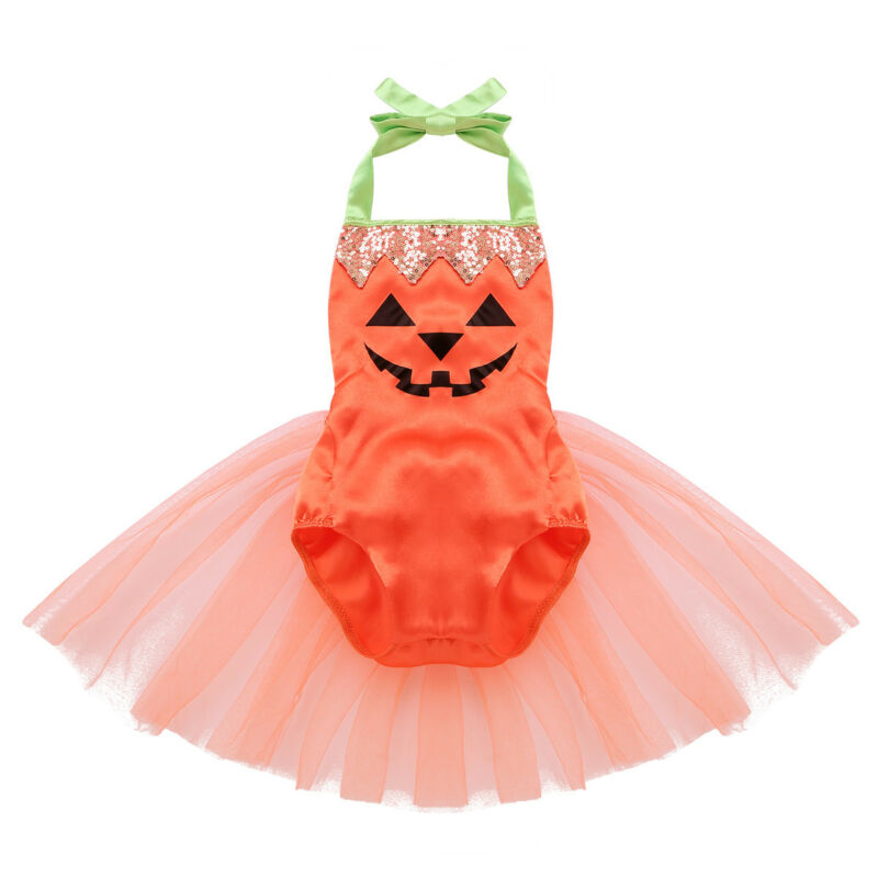 c7d29bf10 Halloween Newborn Baby Girls Satin Romper Pumpkin Jumpsuit Tutu Dress  Outfits USD 8.69
