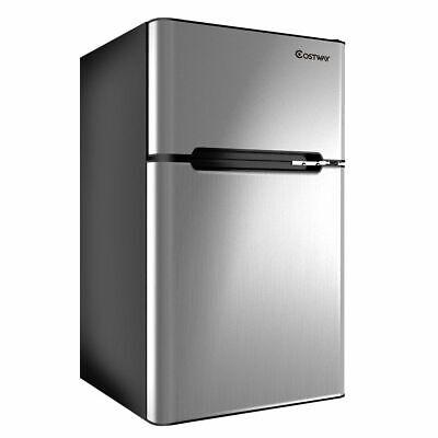 Stainless Steel Refrigerator Small Freezer Cooler Fridge Com