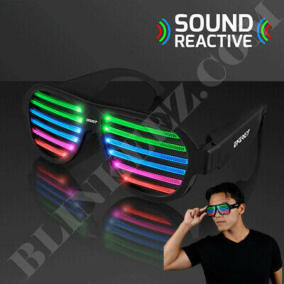 SOUND REACTIVE Rechargeable RAVE LED PARTY Light Up Glasses *SO FUN* - Sound Reactive Glasses