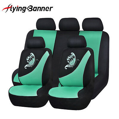 NEW Car Seat Covers set low back Universal Flying banner Breathable mint blue