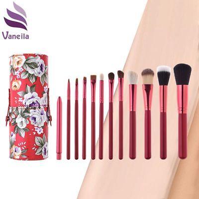 12PCS Professional Makeup Brush Basic Cosmetic Set with Retro Flower Case Holder (Basic Makeup)