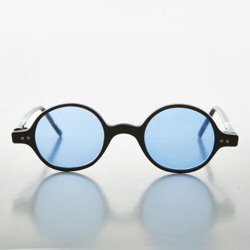 Blue Lens Round Spectacle Vintage Hippy Sunglass - Owen
