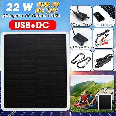 22W MPPT Solar Panel DC 12V & 5V Battery Charger Kit Maintainer Marine Boat RV