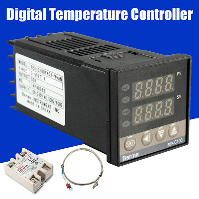 Rex-c100 Digital Ac Pid Temperature Controller Max.40a Ssr K Probe Sensor