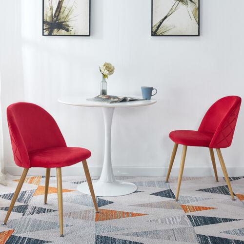 2pcs Modern Velvet Kitchen Chairs Wood Metal Legs Accent