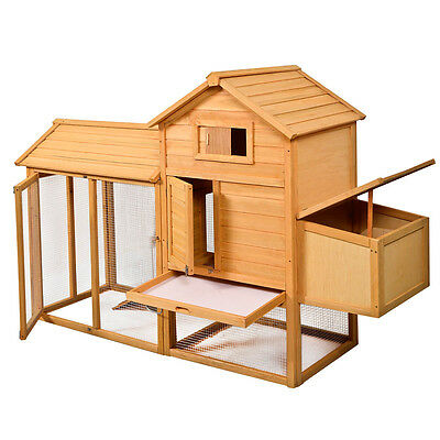 "83""L x 28""W x 52""H Deluxe Wooden Chicken Coop Hen House Poultry Cage Hutch"