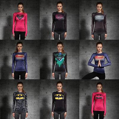 Damen Marvel Superheld T-Shirt Kompression Kostüm Sport Gym Jogging Jersey Top