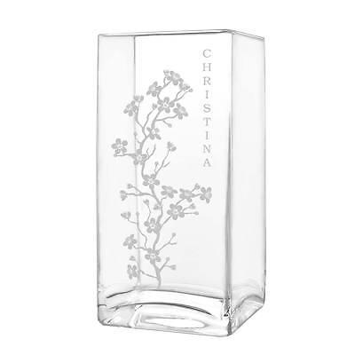 Große Rechteckige Glas (große Blumenvase Vase inkl. Gravur Motiv dezente Kirschblüten)