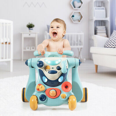 2-in-1 Baby Sit-to-Stand Walker Kids Activity Center Toddler Walking Home Blue