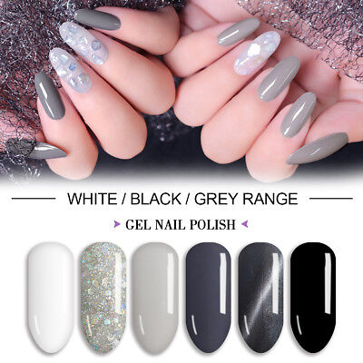LVS 8ml White Black Gray Range UV Soak Off Gel Nail Polish Glitter Winter - Stove Polish