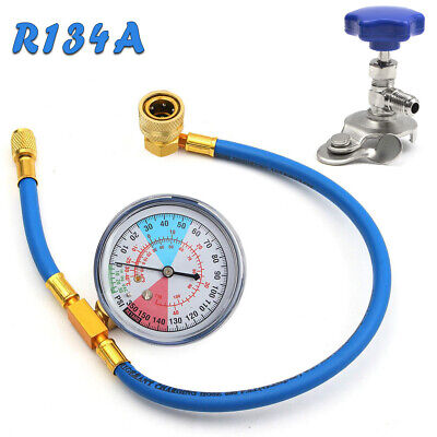 20inch R134A Car Air Conditioning AC Refrigerant Recharge Hose Pressure Gauge UK