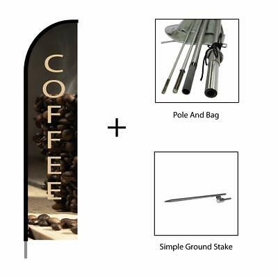 Coffee Sign Banner Swooper Feather Flag Pole Kit Restaurant Advertising 15ft