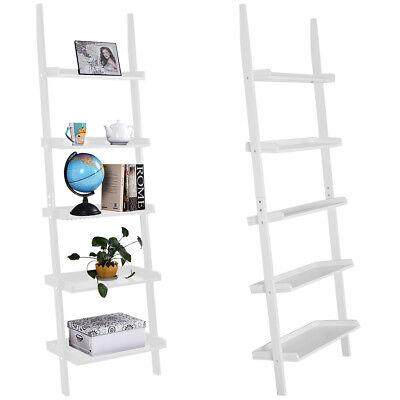 5 Tier Ladder - White 5-Tier Bookcase Bookshelf Leaning Wall Plant Shelf  Ladder Storage Display