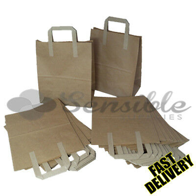 100 X MEDIUM BROWN KRAFT PAPER SOS BAGS 8X4X10