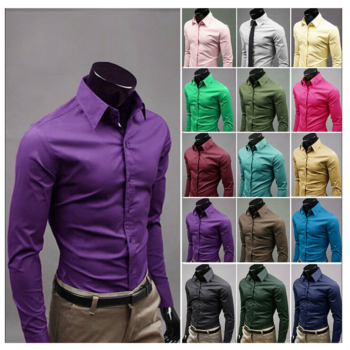 $9.13 - Fashion Mens Luxury Stylish Casual Dress Slim Fit T-Shirts Casual Long Sleeve US