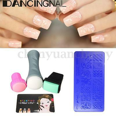 5PCS/Set Nail Art Stamp Stencil Stamper Design Stamping Image Template Plate Kit