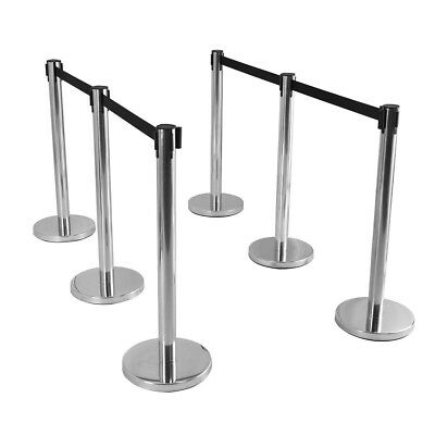 Retractable 6Pcs Stainless Steel Stanchion Posts Queue Pole Black Belt Hall Mall
