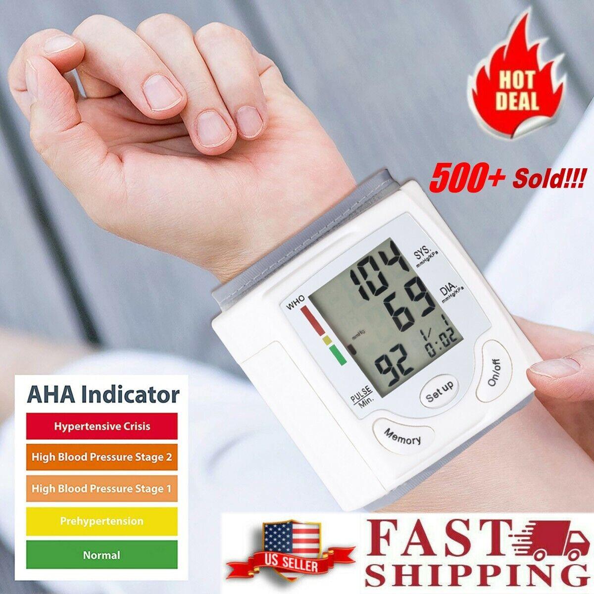 Home Heart Rate Digital LCD Blood Pressure Monitor BP Wrist