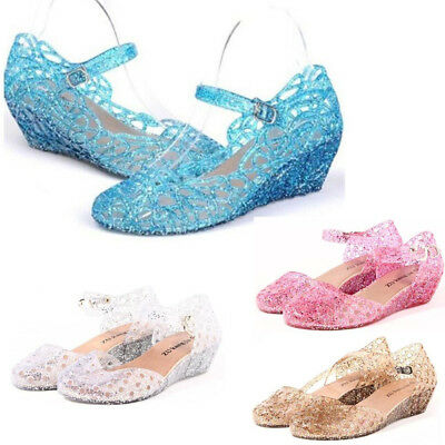 Elsa Princess Queen Fancy Dress Cosplay Party Kids Girl Crystal Blue Jelly Shoes