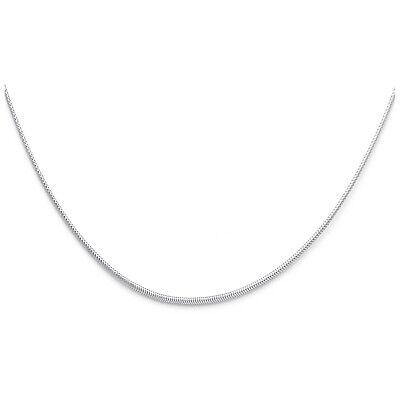 14K Solid White Gold 1mm Sparkle Omega Necklace 17'' For (14k White Gold Omega Necklace)