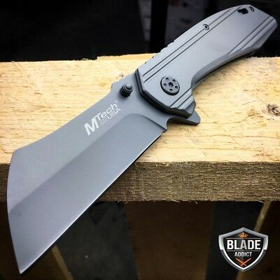 M Tech Razor Sharp Cleaver Style Spring Assisted Open Folding Pocket Knife Grey