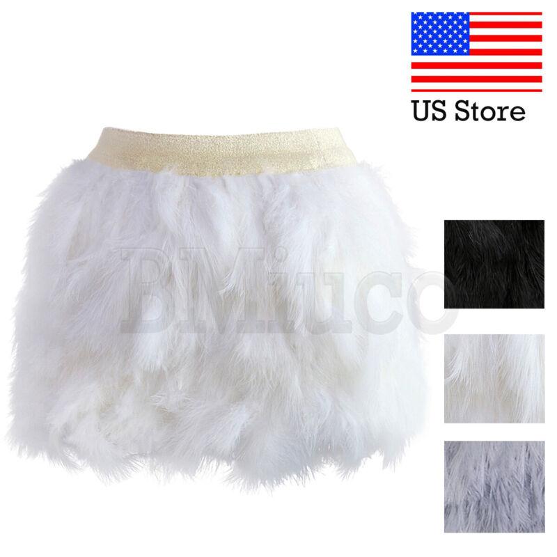 Women Luxury Ostrich Feather Sexy Mini Skirt Clubwear Elastic Waist Short Skirts
