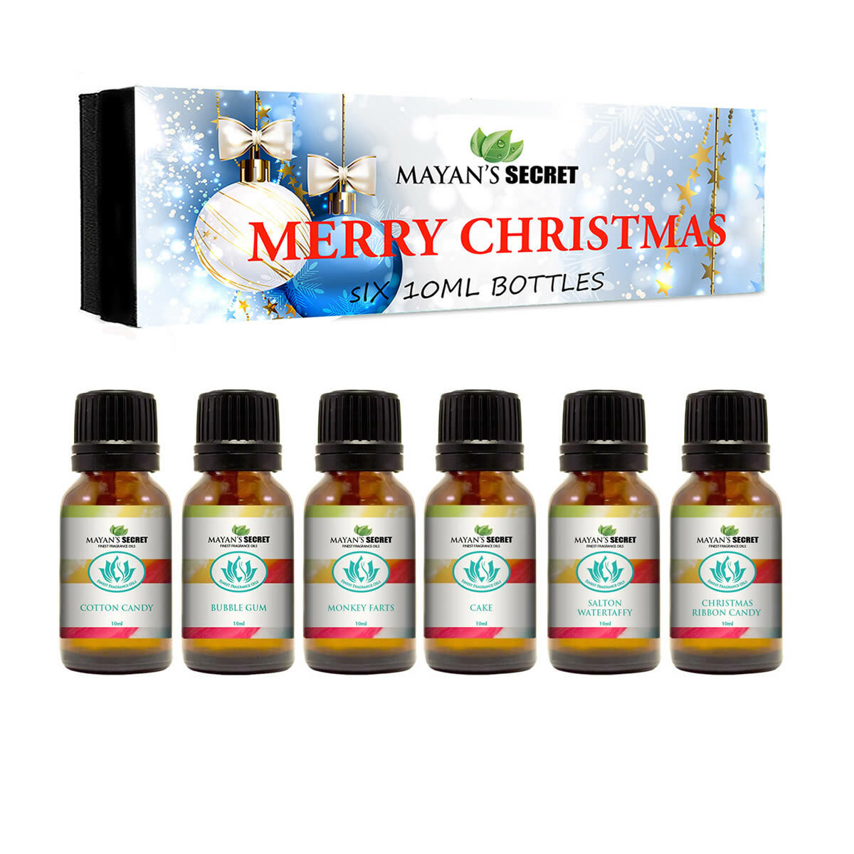 Premium Grade Fragrance Oil -Merry Christmas – Gift Set 6/10ml Cotton Candy, Bub Candle Making & Soap Making