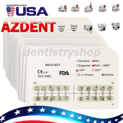 10x Azdent Dental Ortho Brackets Mini/standard Mbt/roth 022/018 Hooks 3 4 5