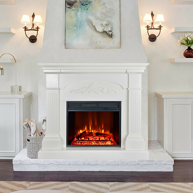 Large Crawford Mantel Electric Fireplace 1500W Heater Stand w/ Remote White