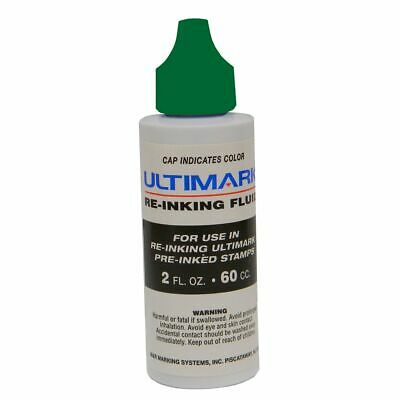 Ultimark Pre-inked Stamp Refill Ink, Green, 2 Oz Drip Spout Bottle ()