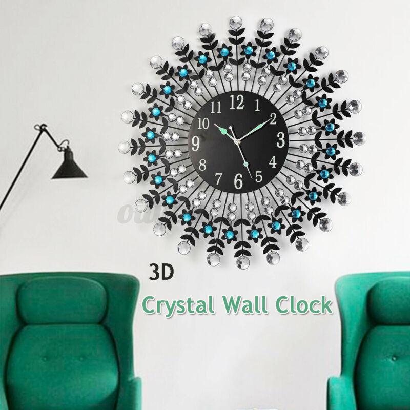 """23.6"""" Large Modern 3D Crystal Wall Clock Luxury Round Dial Drops Glow In Night"""