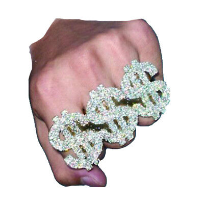 3 Finger $ Ring Geld $$$ Bling Dollar Zeichen Gangster Rapper Kostüm