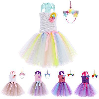 Flower Girl Dress Unicorn Little Pony Cosplay Fancy Dresses Costume Sets for - Fancy Dress For Little Girl