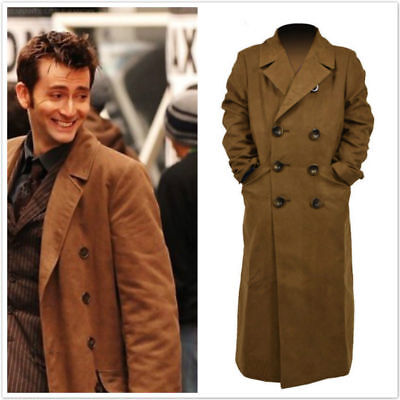 10th Doctor Who th Dr. Ten Brown Long Coat Trench Jacket Cosplay - 10th Doctor Who Costume