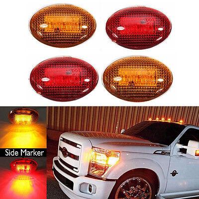 2Pair LED Fender Bed Side Marker Lights Lens Amber Red For Ford F350 F450