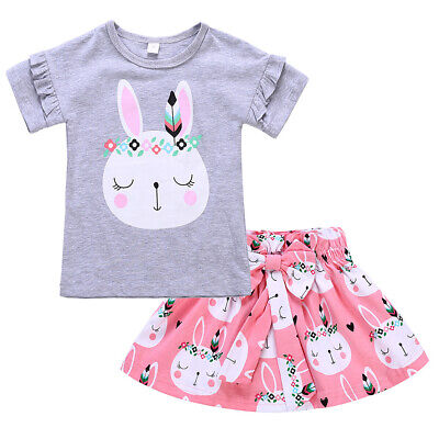 My First Easter T-shirt Top with Skirt Clothes Outfits for Baby Girls Toddler (Easter For Toddlers)
