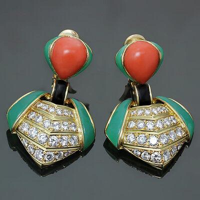 1980s VAN CLEEF & ARPELS Diamond Chrysoprase Coral Clip-on Earrings