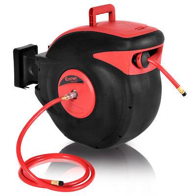 "3/8"" X 100' Retractable Air Compressor Hose Reel 300 PSI Auto Rewind Garage Tool"